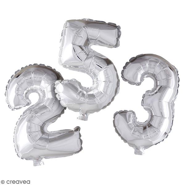 Ballon argenté en aluminium - Chiffre de 41 cm - Photo n°1