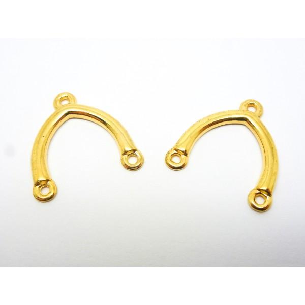 6 Connecteurs forme fer à cheval, arc - 24*23mm - doré - Photo n°1