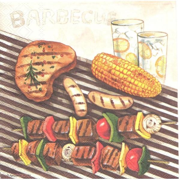 4 Serviettes en papier Barbecue Grillades Format Lunch Decoupage Decopatch 13307825 Ambiente - Photo n°1