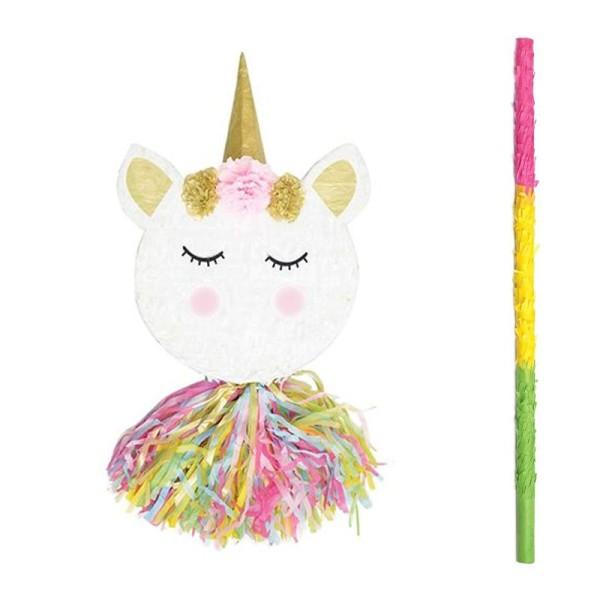 Piñata tête de licorne + bâton - Photo n°1
