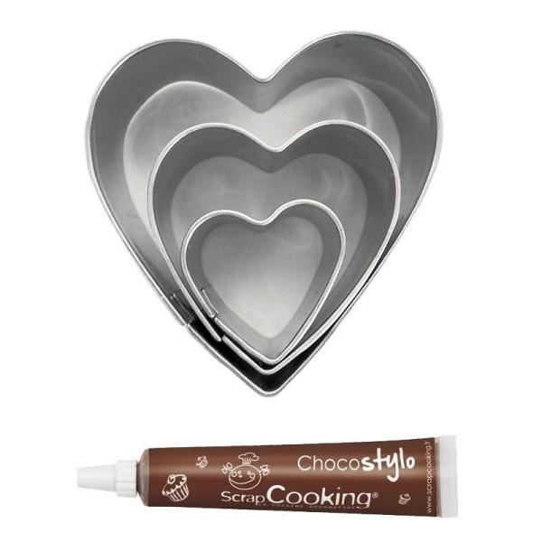 Stylo chocolat + 3 mini emporte-pièces inox Coeurs - Photo n°1