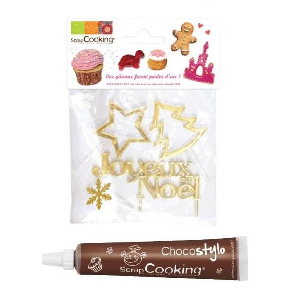 Stylo chocolat + 4 accessoires de Noël dorés - Photo n°1
