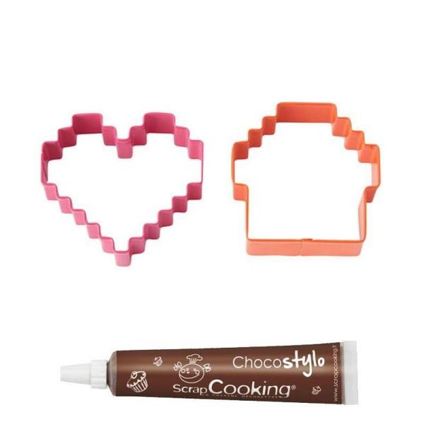 Stylo chocolat + Emporte-pièces à biscuits Wilton Pixels - Photo n°2