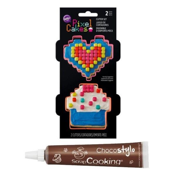 Stylo chocolat + Emporte-pièces à biscuits Wilton Pixels - Photo n°1