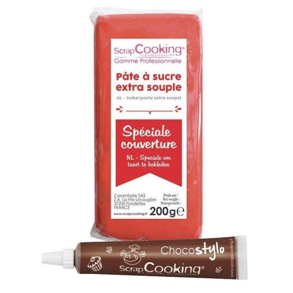 Pâte à sucre de couverture rouge 200 g + Stylo chocolat - Photo n°1
