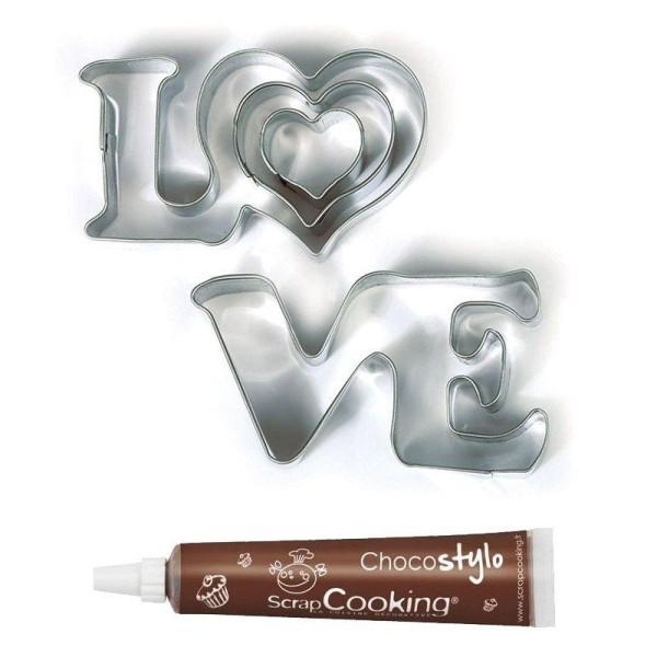 Emporte-pièces en inox Love + Stylo chocolat - Photo n°1