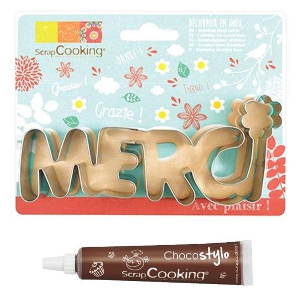 Découpoir à biscuits en inox Merci + Stylo chocolat - Photo n°1