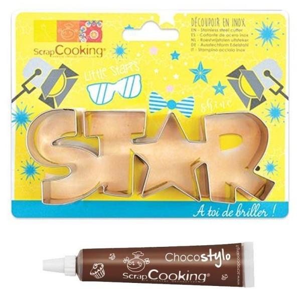 Découpoir à biscuits en inox Star + Stylo chocolat - Photo n°1