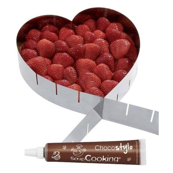 Cadre à pâtisserie extensible coeur + Stylo chocolat - Photo n°1