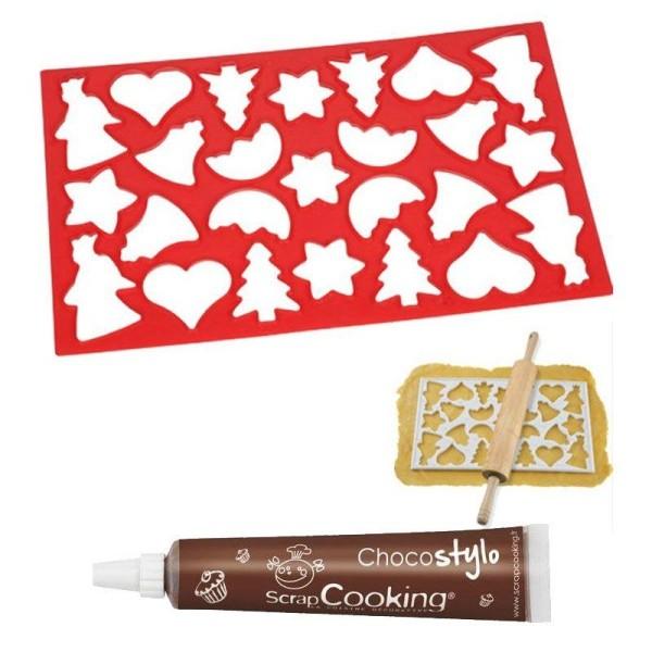 Plaque découpoir 25 biscuits de Noël + Stylo chocolat - Photo n°1