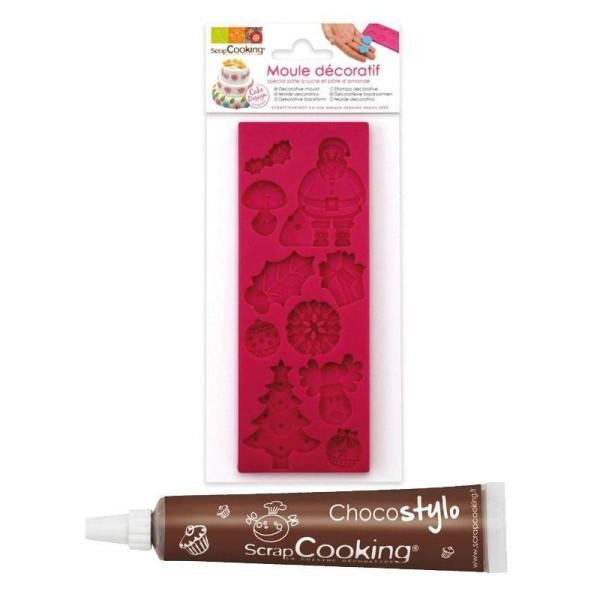 Moule pâte à sucre Noël + Stylo chocolat - Photo n°1