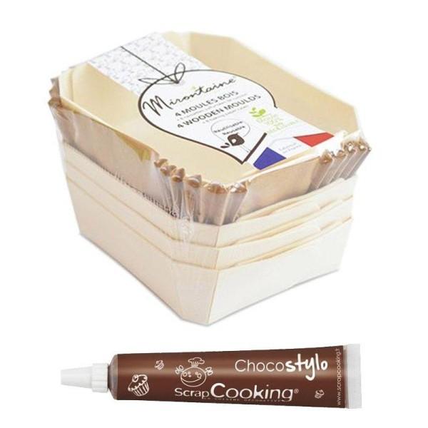 4 moules bois rectangle + 8 caissettes de cuisson + 1 Stylo chocolat offert - Photo n°1