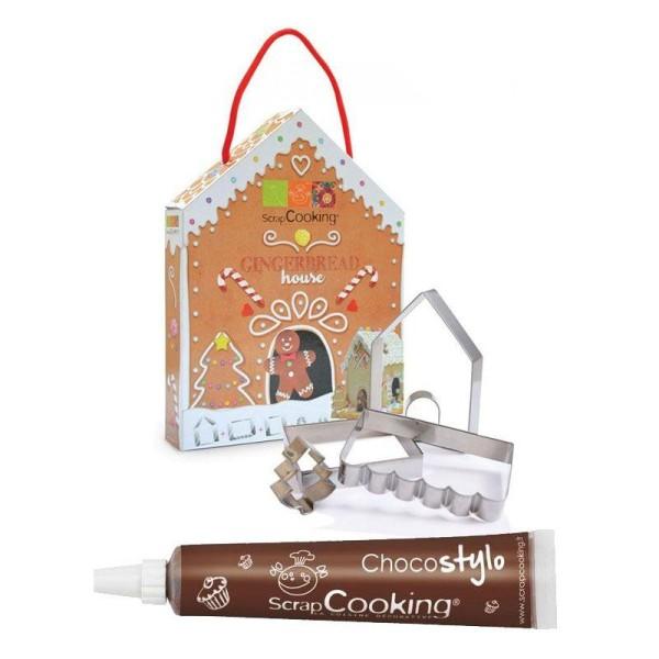 Coffret Découpoirs Maison en pain d'épices + 1 Stylo chocolat offert - Photo n°1