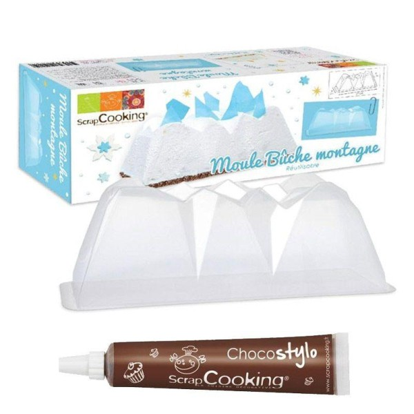 Moule à Bûche de Noël montagne + 1 Stylo chocolat offert - Photo n°1