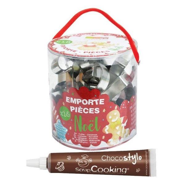Seau de 18 emporte-pièces en inox Noël + 1 Stylo chocolat offert - Photo n°1