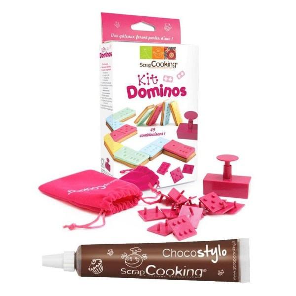 Kit Dominos pour biscuits et pâte à sucre + 1 Stylo chocolat offert - Photo n°1
