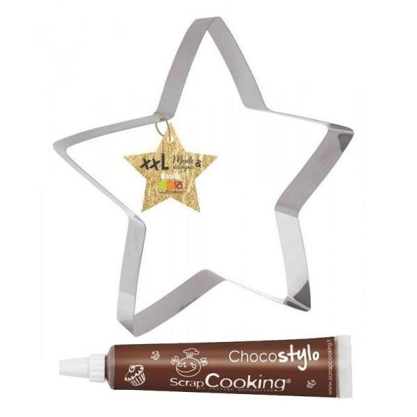 Découpoir à pâtisserie inox XXL Etoile + 1 Stylo chocolat offert - Photo n°1