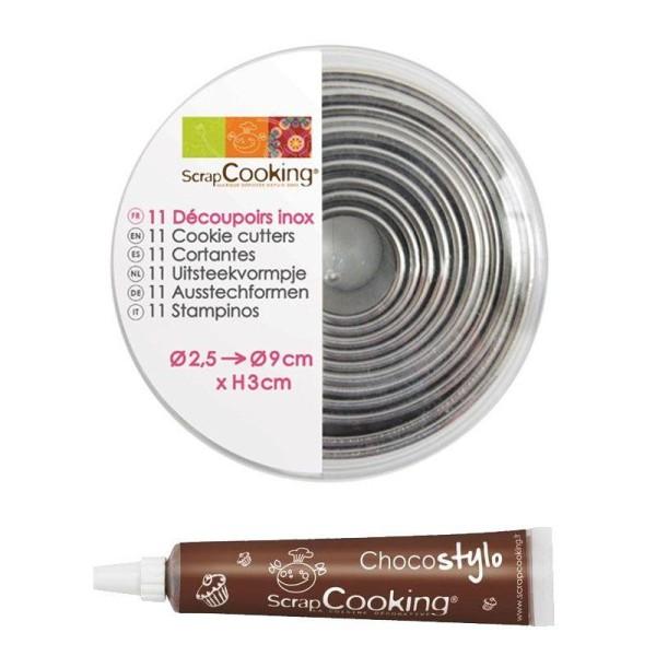 11 emporte-pièces ronds en inox + 1 Stylo chocolat offert - Photo n°1