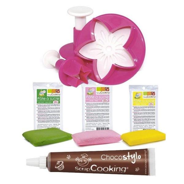 Coffret découpoirs étoile feuille fleur + pâte à sucre 300 g + 1 Stylo chocolat offert - Photo n°1