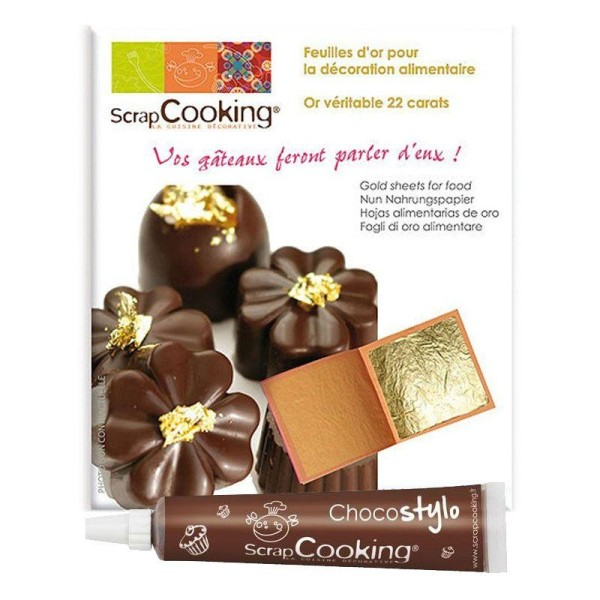 5 feuilles d'or comestible 22 carats + 1 Stylo chocolat offert - Photo n°1