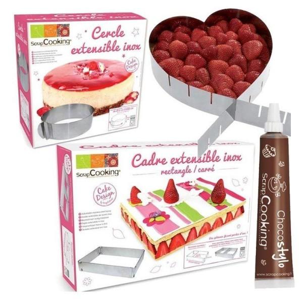 3 cadres pâtisserie extensibles coeur, cercle & rectangle + 1 Stylo chocolat offert - Photo n°1