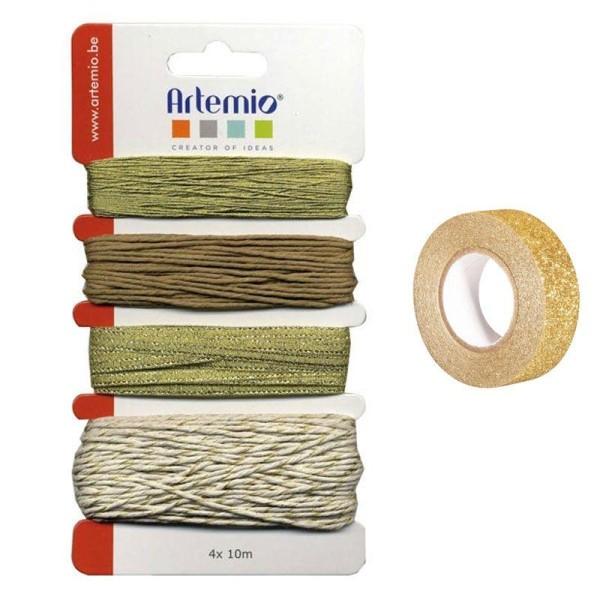 Assortiment de ficelles dorées + masking tape doré à paillettes 5 m - Photo n°1