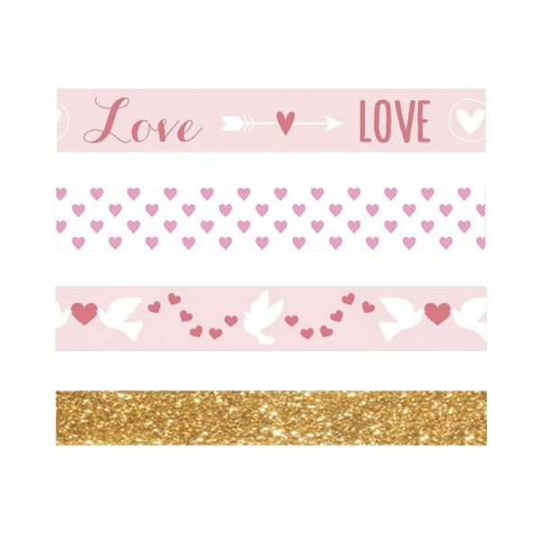 3 masking tapes St Valentin Love + 1 masking tape doré à paillettes 5 m - Photo n°1