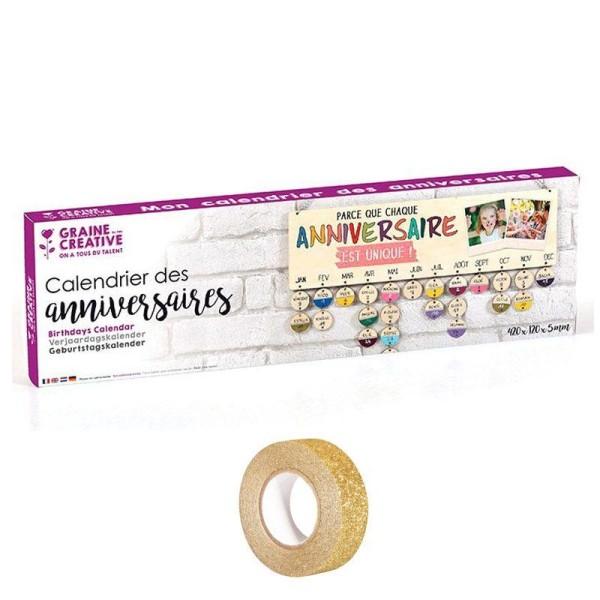 Calendrier des Anniversaires bois 40 x 12 cm + masking tape doré à paillettes 5 m offert - Photo n°1