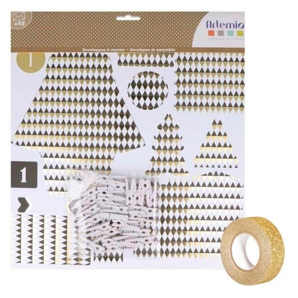 48 enveloppes Calendrier de l'Avent Golden Deer + masking tape doré à paillettes 5 m offert - Photo n°2