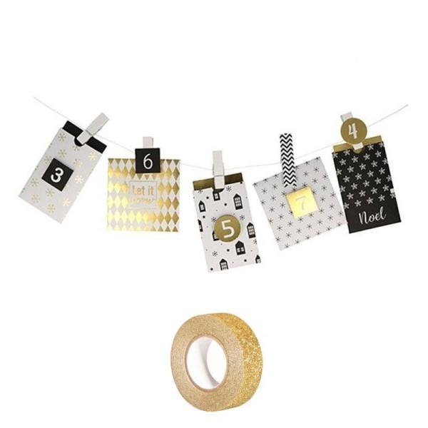 48 enveloppes Calendrier de l'Avent Golden Deer + masking tape doré à paillettes 5 m offert - Photo n°1