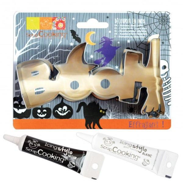 Découpoir à biscuits en inox Booh Halloween + stylos alimentaires noir et blanc - Photo n°1