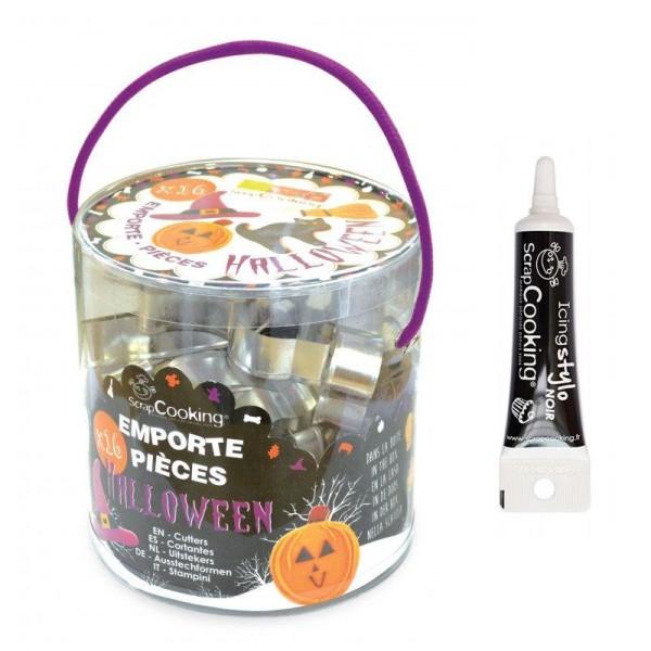 Seau 16 emporte-pièces à pâtisserie Halloween + stylo alimentaire noir - Photo n°1