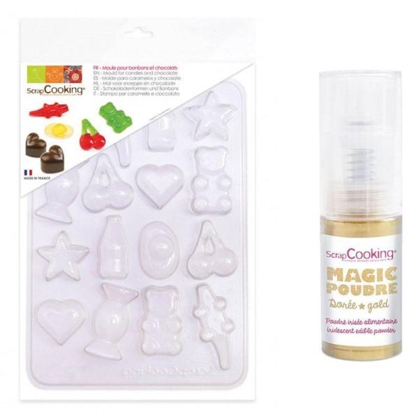 Moule en plastique pour bonbons et chocolats + 1 poudre alimentaire irisée dorée - Photo n°1