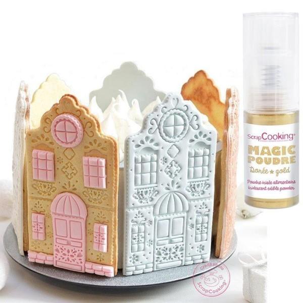 Découpoir à pâtisserie Little house + 1 poudre alimentaire irisée dorée - Photo n°2