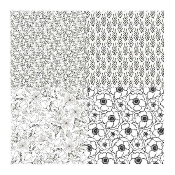 4 papiers calque japonais N&B 90 g - 30 x 30 cm - Botanique - Photo n°1