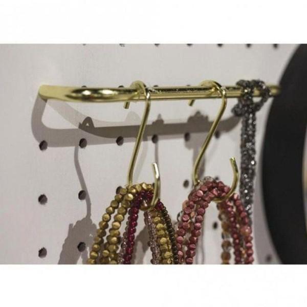 Fixation métal dorée 23 x 3 cm + 8 crochets en S - Photo n°2