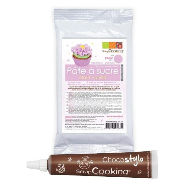 Pâte à sucre violette arôme vanille 250 g + Stylo chocolat - Photo n°1