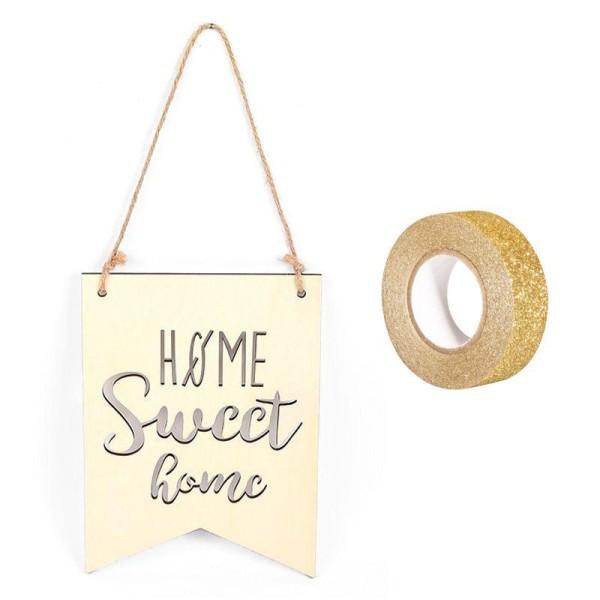 Fanion bois à suspendre 20 x 15 cm Home Sweet Home + masking tape doré à paillettes 5 m - Photo n°1