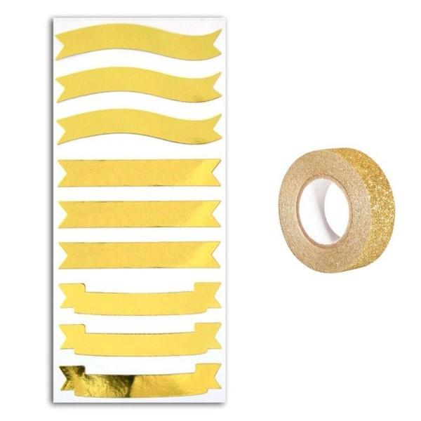 Stickers bannières dorées + masking tape doré à paillettes 5 m - Photo n°1