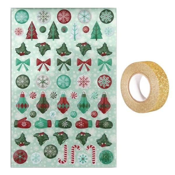 60 stickers epoxy Joyeux Noël + masking tape doré à paillettes 5 m - Photo n°1