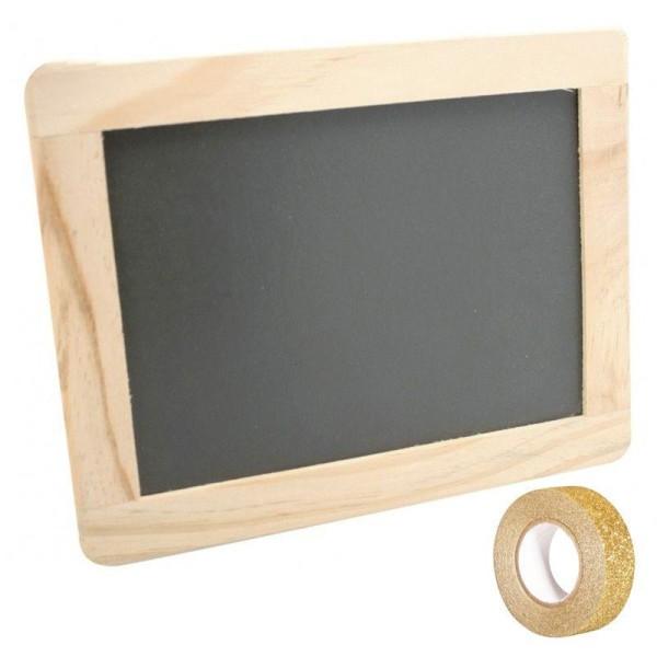 Ardoise bordure bois 21,5 x 17 cm + masking tape doré à paillettes 5 m - Photo n°1