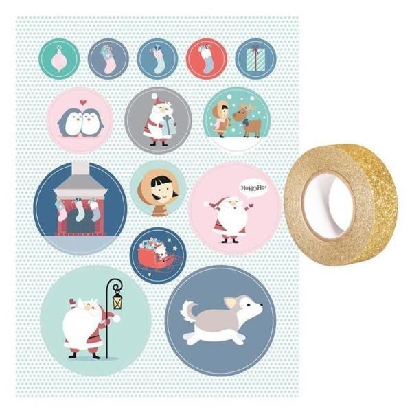 Livret 168 stickers Père Noël My little Christmas + masking tape doré à paillettes 5 m - Photo n°1