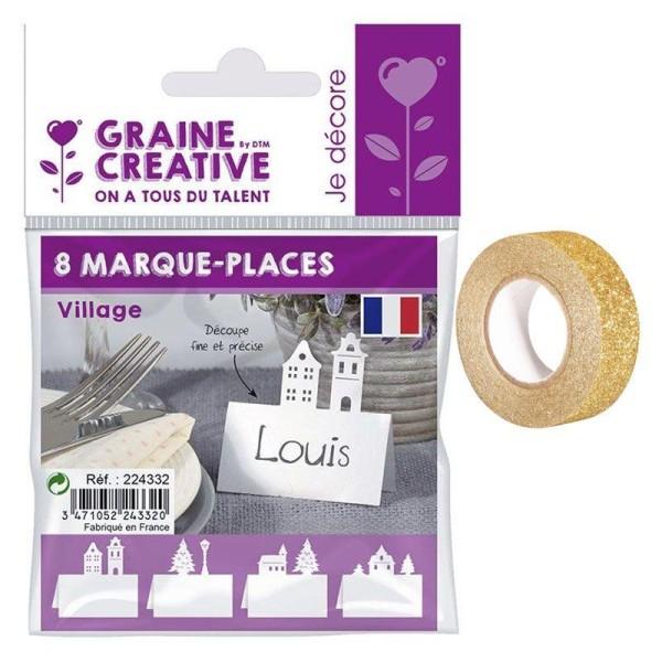 Marque places pour table de Noël Village + masking tape doré à paillettes 5 m - Photo n°1