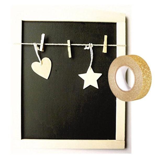 Tableau ardoise cadre bois 3 pinces à linge + masking tape doré à paillettes 5 m - Photo n°1