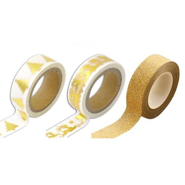 3 masking tapes de Noël - blancs et dorés, doré à paillettes - Photo n°1
