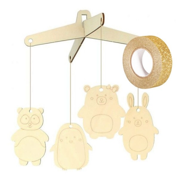 Mobile en bois à décorer Adorable + masking tape doré à paillettes 5 m - Photo n°2