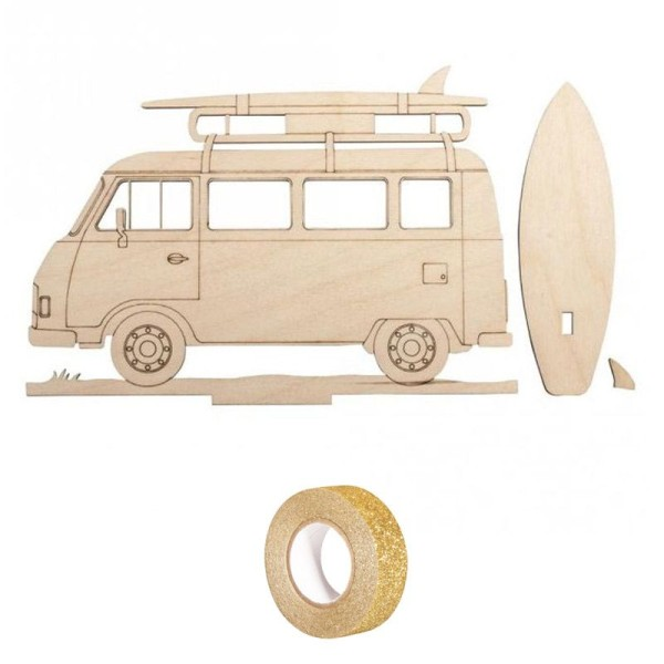 Silhouette bois à customiser 20 x 14 cm - Camping-car + masking tape doré à paillettes 5 m - Photo n°2