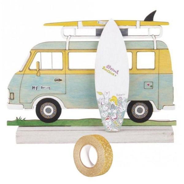 Silhouette bois à customiser 20 x 14 cm - Camping-car + masking tape doré à paillettes 5 m - Photo n°1