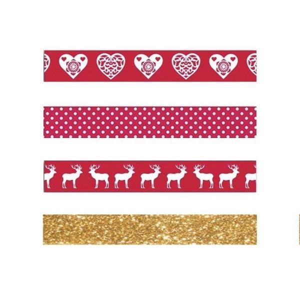 4 masking tapes de Noël - rouge, blanc, doré à paillettes - Photo n°2