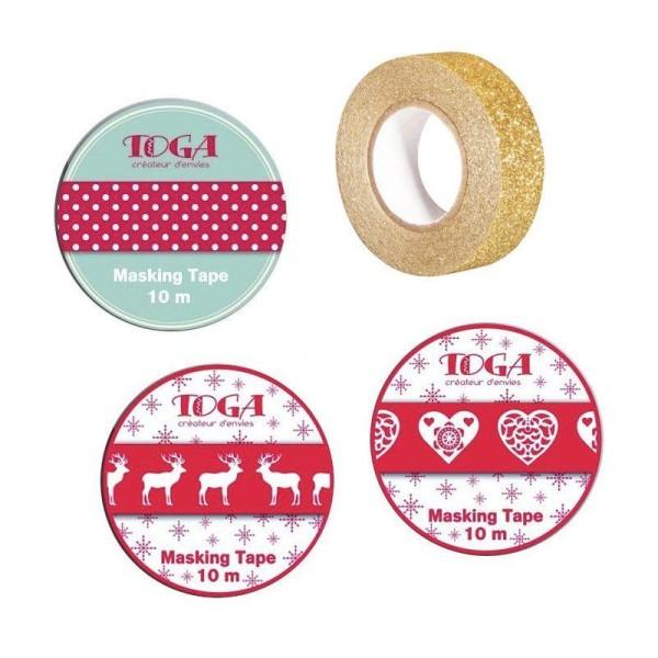 4 masking tapes de Noël - rouge, blanc, doré à paillettes - Photo n°1